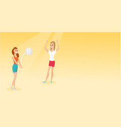 two caucasian women playing beach volleyball vector image