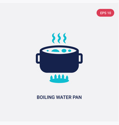 Two color boiling water pan icon from bistro and vector