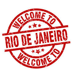 Welcome to rio de janeiro red stamp vector