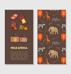 wild africa banner template with african animals vector image