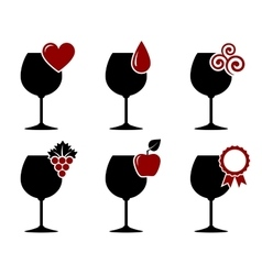 Wine glass set with grape heart and drop vector
