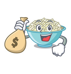 With money bag rice bowl character cartoon vector
