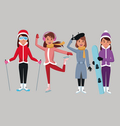 woman winter extreme sports vector image