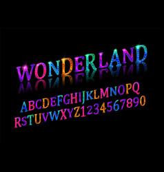Wonderland font fairy abc vector
