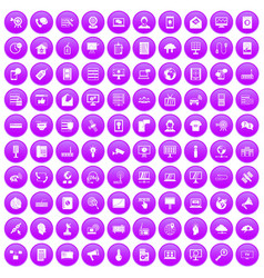 100 telecommunication icons set purple vector