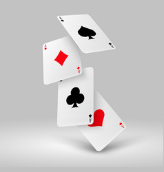 falling poker playing cards of aces casino vector image