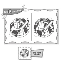 find 9 differences game plane vector image vector image
