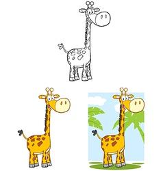 Giraffe Cartoon Mascot Character Collection Set vector image