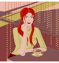 girl with a coffee cup vector image vector image