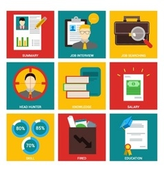 Job Interview nine flat items concept vector image