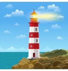 Lighthouse on ocean or sea beach cartoon vector image