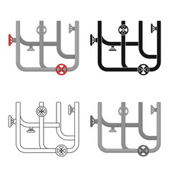 pipes with valves icon in cartoon style isolated vector image