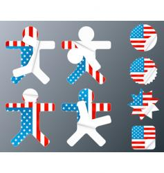 usa collection of peeling stickers vector image vector image