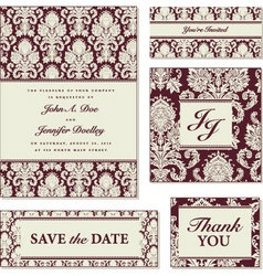 vector red damask frame set vector image vector image