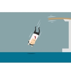 Businessman diving into a swimming pool vector image