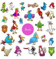 cartoon birds animal characters big collection vector image