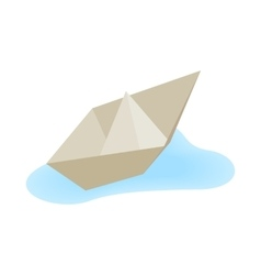 Paper boat icon isometric 3d style vector image
