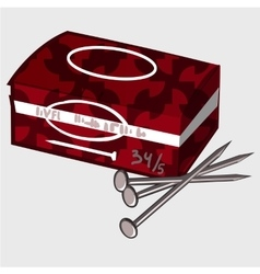 Red box with tools and a few nails work kit vector image vector image