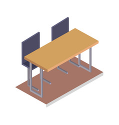 school desk with chairs three dimensional vector image