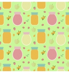Seamless pattern with fruits and jars of jam vector image vector image