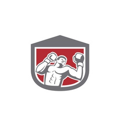 Boxer Punching Boxing Shield Retro vector image vector image