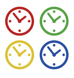 color common clock icons set isolated on white vector image vector image