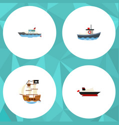 flat icon boat set of cargo sailboat transport vector image