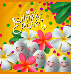 happy easter card with eggs and flowers vector image