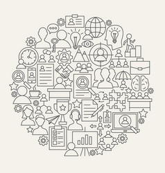 Human resources line icons circle vector