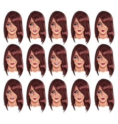 Portraits of beatuful woman with brown hair vector image vector image