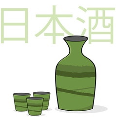 Sake bottle and cups vector image vector image