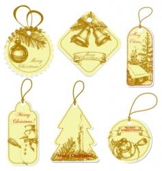 vintage christmas tags vector image