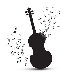 violin silhouette with notes isolated on white vector image vector image