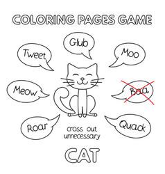 cartoon cat coloring book vector image vector image