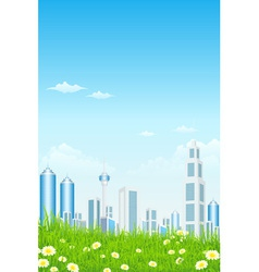 Green Grass with Skyscrapers Sun and Rays vector image vector image