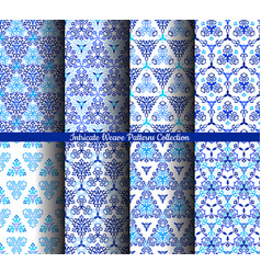 Hand drawn weave blue patterns collection vector