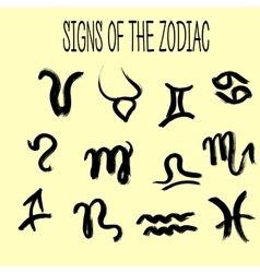 Set of zodiacs signs painted by hand Grunge vector image