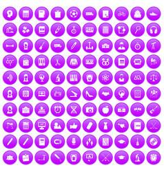 100 hi-school icons set purple vector image