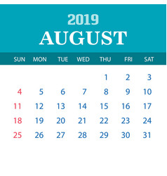 2019 calendar template - august vector image