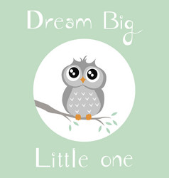 A baby owl with neutral baby green background vector