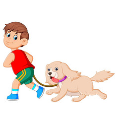 a happy boy is running and pulling his cute dog vector image