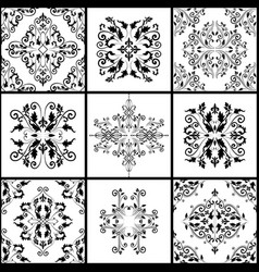 abstract damask patterns set of nine seamless in vector image