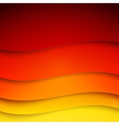 Abstract red orange and yellow paper wave shapes vector