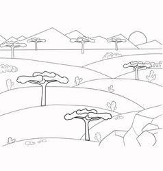 African savannah coloring book background nature vector