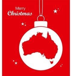 Australia Merry Christmas Map red vector