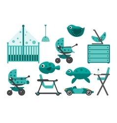 Baby room furniture and toys vector image