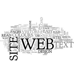 basic rules of web design text word cloud concept vector image