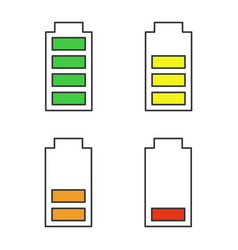 battery charging color icons set vector image