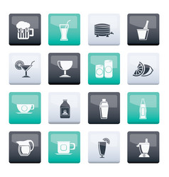 Beverages and drink icons over color background vector