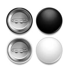 black and white round badge photo realistic set vector image